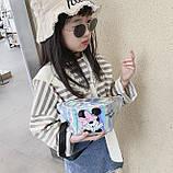 """Женская детская голографическая блестящая бананка """"Микки Маус """" серая белая серебряная серебристая, фото 6"""