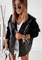 Стильная женская курточка, черная, 505-028