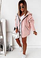 Стильная женская курточка, цвет пудры, 505-029