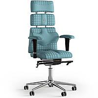 Кресло KULIK SYSTEM PYRAMID Экокожа с подголовником со строчкой Синий 9-901-WS-MC-0209, КОД: 1686007