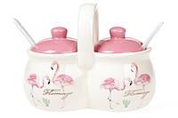 Банка для специй двойная Розовый Фламинго Bona Di DM-122-FL