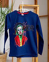 Детский лонгслив для мальчика Hacali joker в наушниках темно-синий 6915