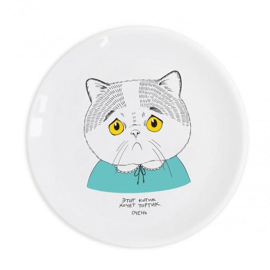 Тарелка грустный Котик