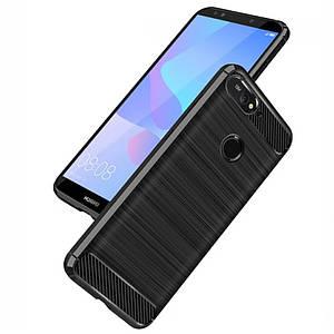 Чехол для Huawei Y6 Prime / Y6 2018 / ATU-L31 / Honor 7A pro Polished Carbon противоударный хуавей у6 черный