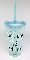 Стакан охлаждающий с жидкостью и трубочкой синий cool cup