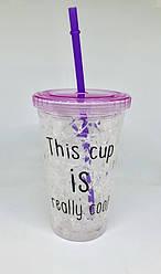 Стакан охлаждающий с жидкостью и трубочкой фиолетовая cool cup