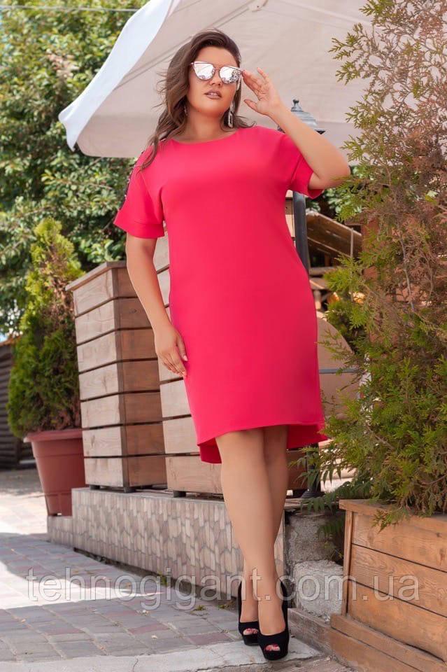 Жіноче літнє плаття великого розміру 50, 52, 54, 56, вільного крою, однотонне, Малиновий