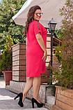 Жіноче літнє плаття великого розміру 50, 52, 54, 56, вільного крою, однотонне, Малиновий, фото 2