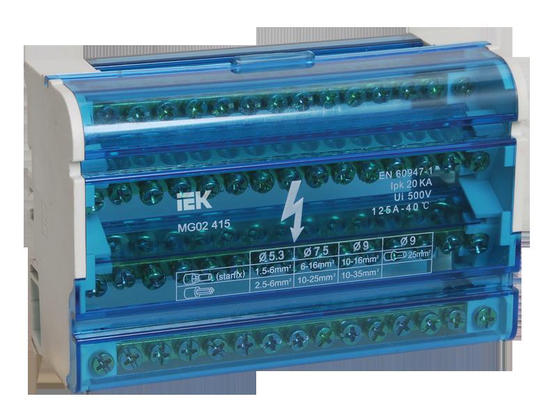 """Шина N """"ноль"""" на DIN-рейку в корпусе 4х15групп IEK (YND10-4-15-125)"""