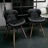 М'який стілець Старий чорний екокожа на дерев'яних ніжках СДМ група (безкоштовна доставка), фото 9