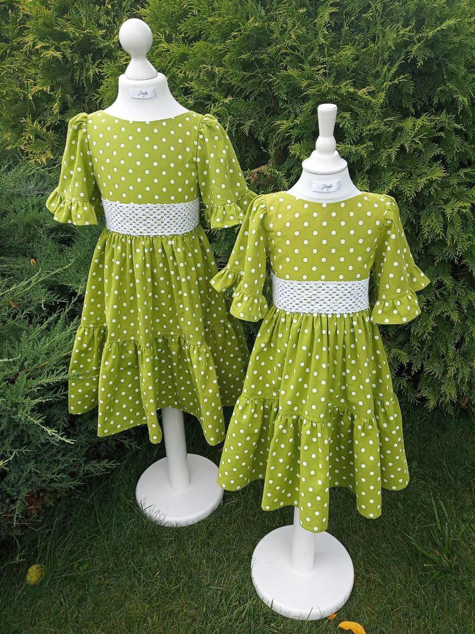 Р 104, 110, детское нарядное платье салатового цвета, в горошек