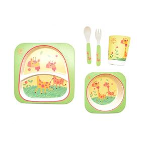 """Набор детской посуды из бамбука  """"Жираф"""" 5пр/наб (2тарелки,вилка,ложка,стакан) MH-2770-16 небьющаяся посуда"""