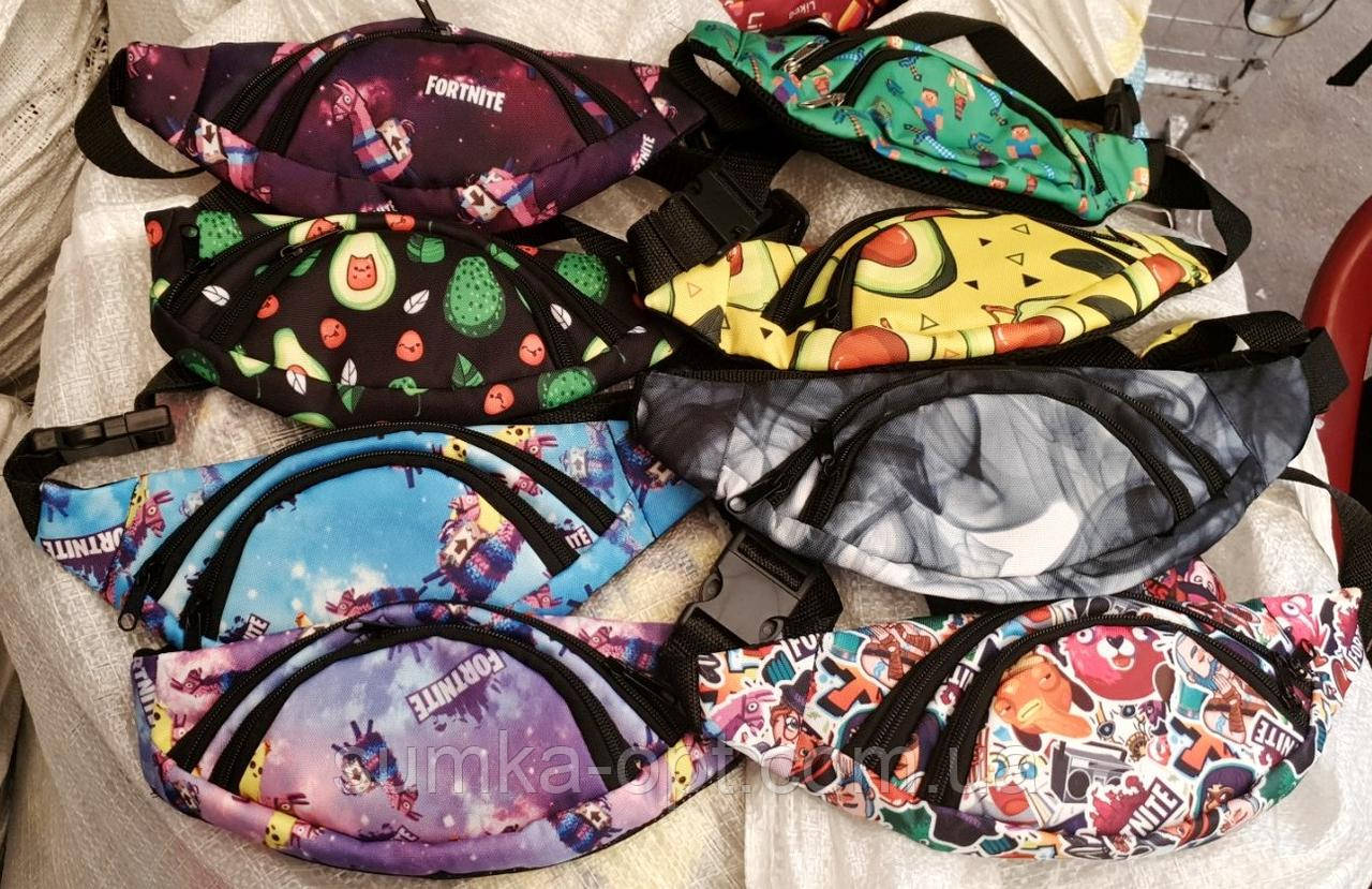 Молодежные сумки на пояс 2отд текстиль (АССОРТИ)14*32см