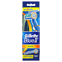 Одноразовые бритвенные станки Gillette Blue II Plus 10 шт. (8 шт. + 2 шт. бесплатно)