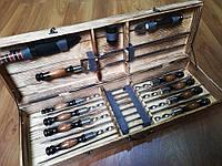 "Набор 8 шампуров ""LUX""(640х12х3 мм) + двойной шампур + нож-вилка +нож + 6 рюмок, в подарочном деревянном кейсе"