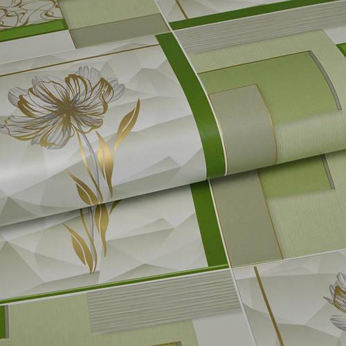 Обои для стен шпалери в кухню зеленые під плитку з квітами  влагостойкие  0,53*10м