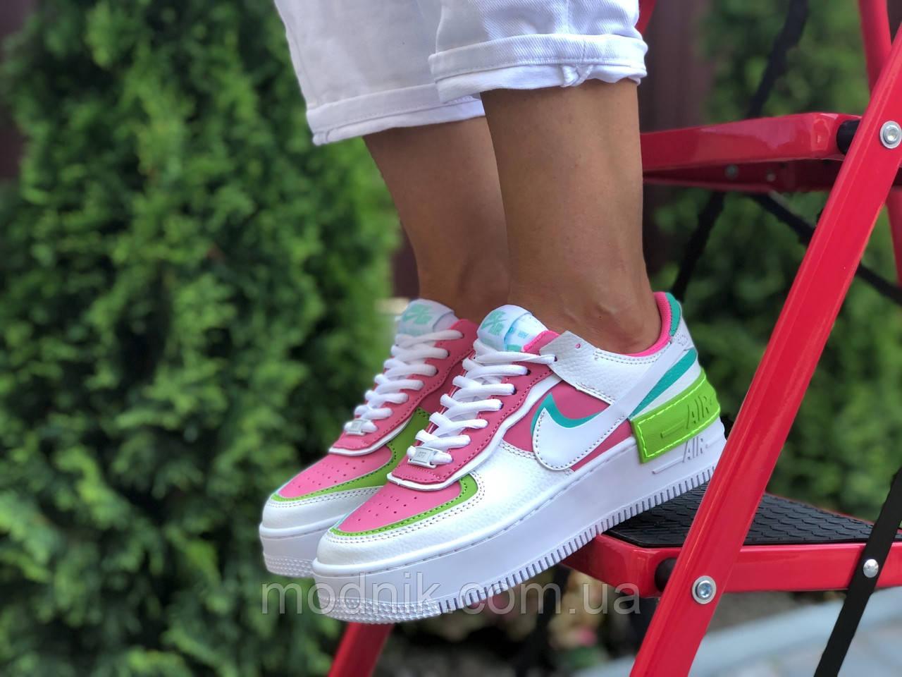Женские кроссовки Nike Air Force 1 Shadow (бело-малиновые с салатовым) 9662