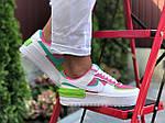 Женские кроссовки Nike Air Force 1 Shadow (бело-малиновые с салатовым) 9662, фото 2