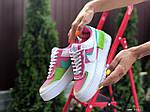 Женские кроссовки Nike Air Force 1 Shadow (бело-малиновые с салатовым) 9662, фото 4