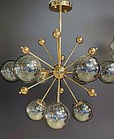 Люстра Молекула на 9 ламп Золото, Хром