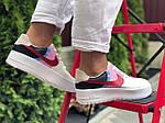 Женские кроссовки Nike Air Force 1 (бело-бежевые с розовым) 9675, фото 4