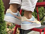 Женские кроссовки Nike Air Force 1 (бежево-голубые) 9677, фото 2