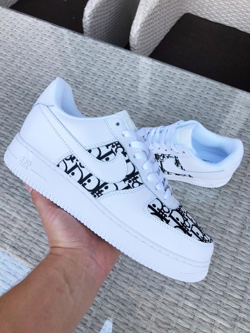 Мужские кроссовки Nike Air Force 1 Low x Dior (бело-черные) 9692