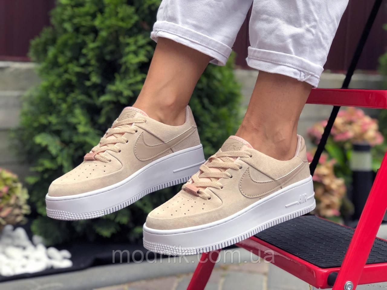 Женские кроссовки Nike Air Force 1 (бежевые) 9678