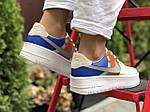 Женские кроссовки Nike Air Force 1 (бело-рыжие) 9679, фото 2