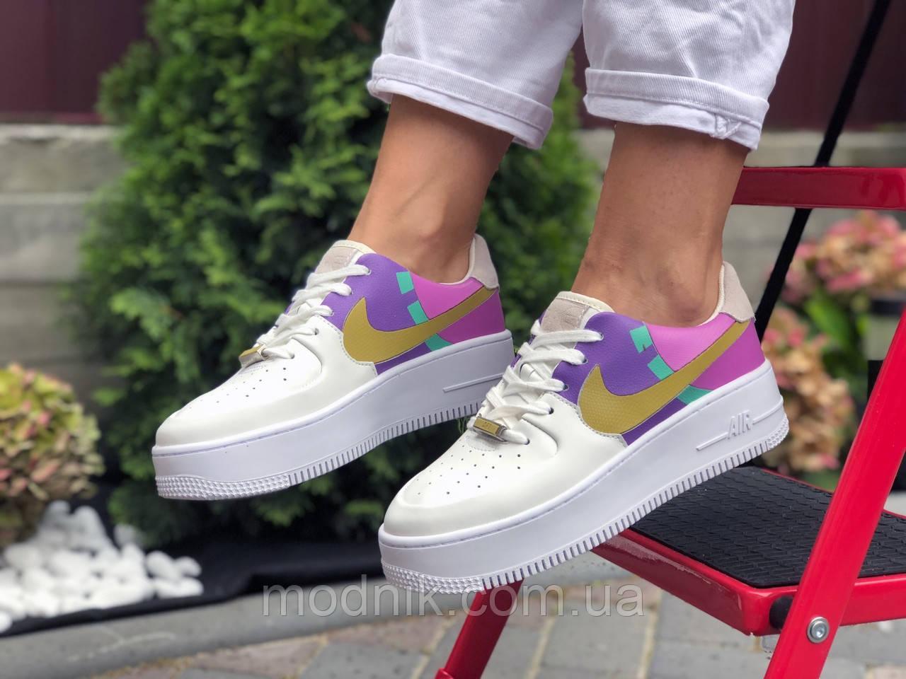 Женские кроссовки Nike Air Force 1 (бело-фиолетовые с розовым) 9681