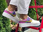 Женские кроссовки Nike Air Force 1 (бело-фиолетовые с розовым) 9681, фото 4