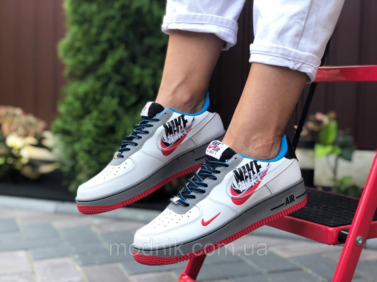 Женские кроссовки Nike Air Force 1 (бело-красные с голубым) 9682