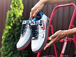 Женские кроссовки Nike Air Force 1 (бело-красные с голубым) 9682, фото 3