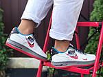 Женские кроссовки Nike Air Force 1 (бело-красные с голубым) 9682, фото 4
