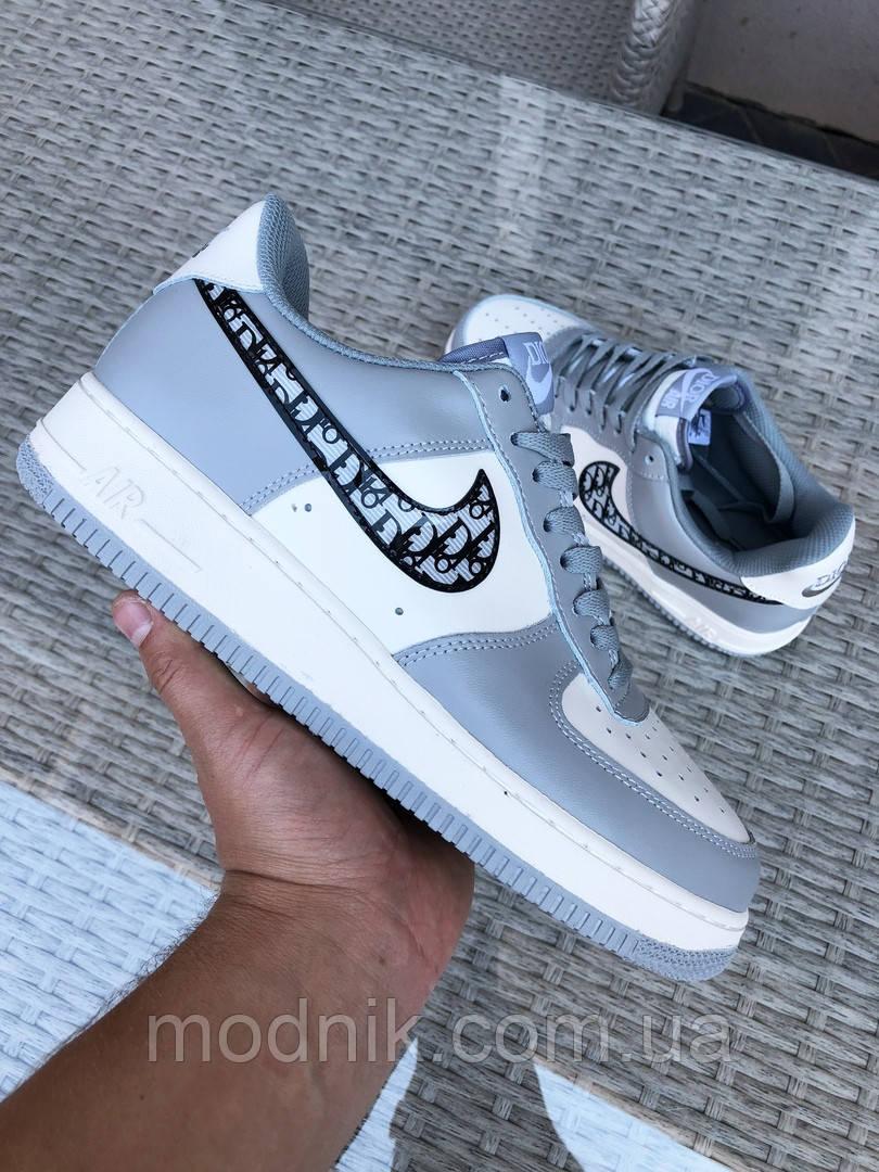 Мужские кроссовки Nike Air Force 1 Low x Dior (серо-бежевые) 9694