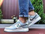 Мужские кроссовки Nike Air Force 1 Low x Dior (серо-бежевые) 9694, фото 4