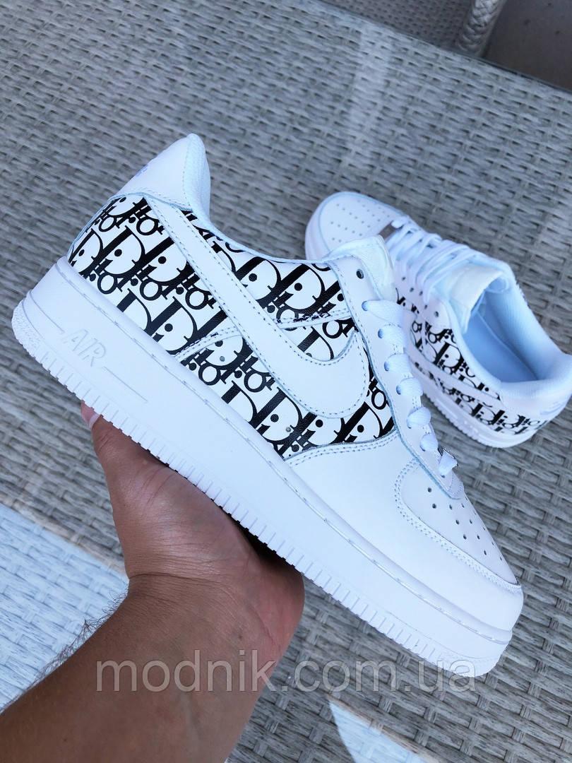 Мужские кроссовки Nike Air Force 1 Low x Dior (бело-черные) 9695