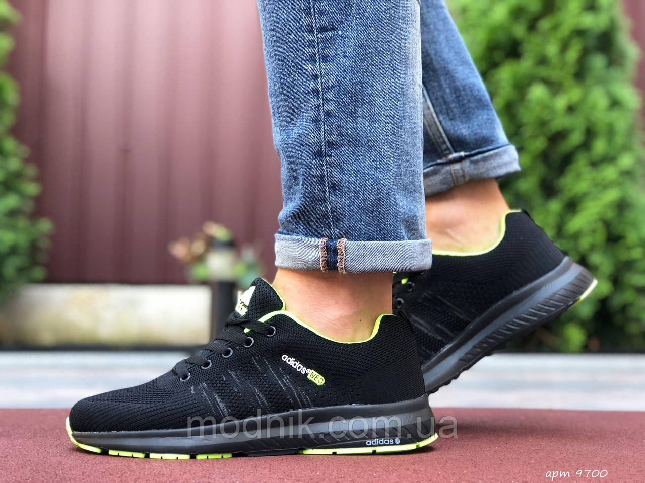Мужские кроссовки Adidas Neo (черно-салатовые) 9700