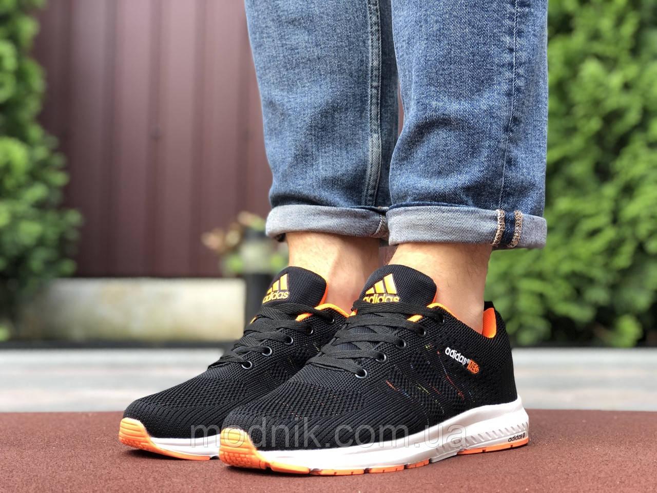 Мужские кроссовки Adidas Neo (черно-белые с оранжевым) 9702