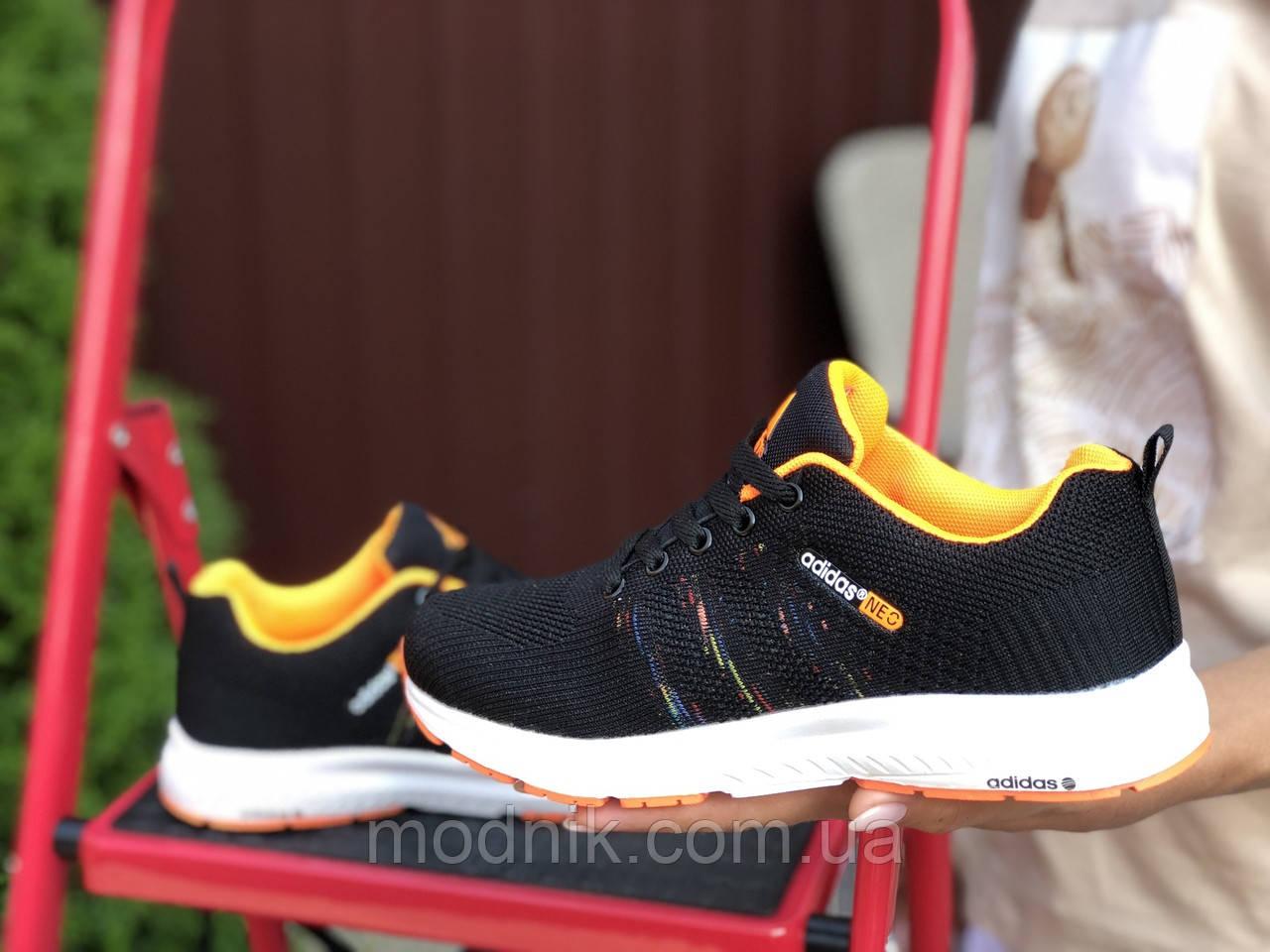 Женские кроссовки Adidas Neo (черно-белые с оранжевым) 9708