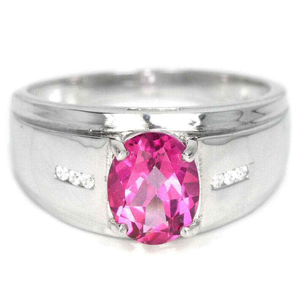 Серебряное кольцо с топазом розовым, 1481КТ