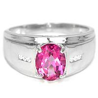 Серебряное кольцо с топазом розовым, 1481КТ, фото 1