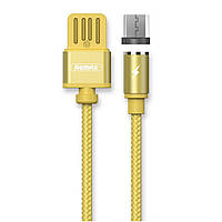 Магнитный USB кабель Remax Gravity RC-095m microUSB to USB 1 m Gold, КОД: 1379333