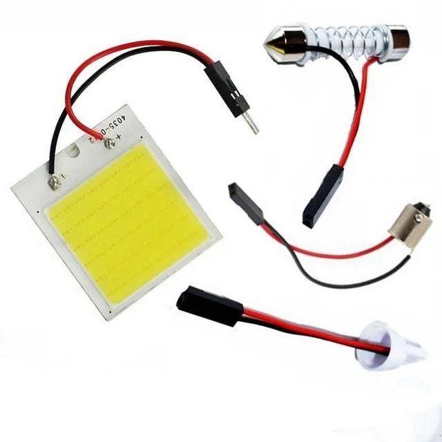 Світлодіодна панель 48 COB з перехідниками T10, C5W, 31-42мм, BA9S. 12В