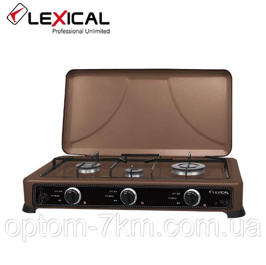 Газовая плита таганок LEXICAL LGS-2813-5 настольная на 3 конфорки D