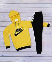 Мужской спортивный костюм Найк (Nike) (10 разных принтов) - жёлтая худи и чёрные штаны / Весна-осень