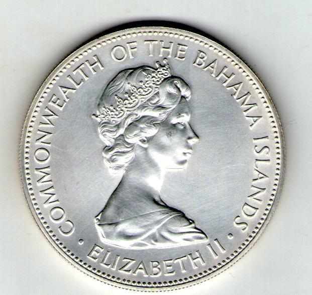 Багамские острова 5 долларов 1973 серебро 43 грамма