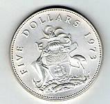 Багамские острова 5 долларов 1973 серебро 43 грамма, фото 2