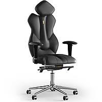 Кресло KULIK SYSTEM ROYAL Кожа с подголовником без строчки Черный 5-901-BS-MC-0101, КОД: 1697130