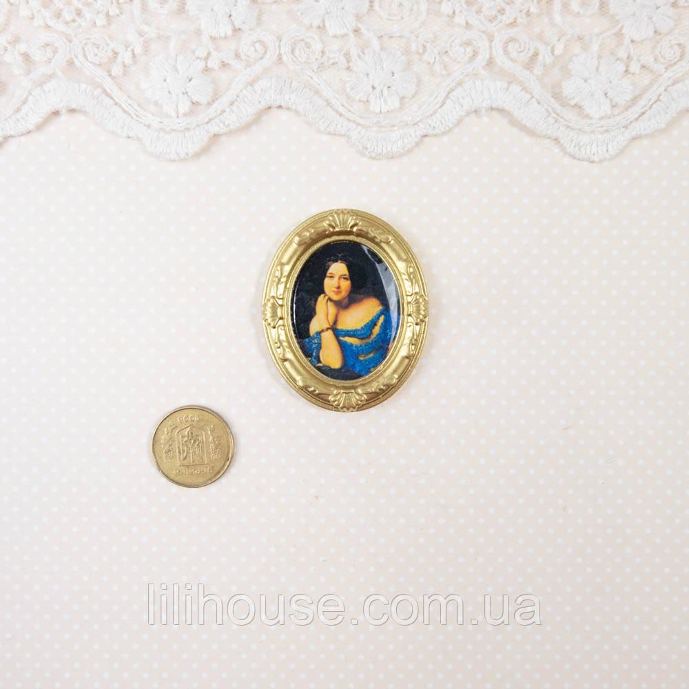 """1:12 Миниатюра """"Девушка в синем"""" 3.9 см"""